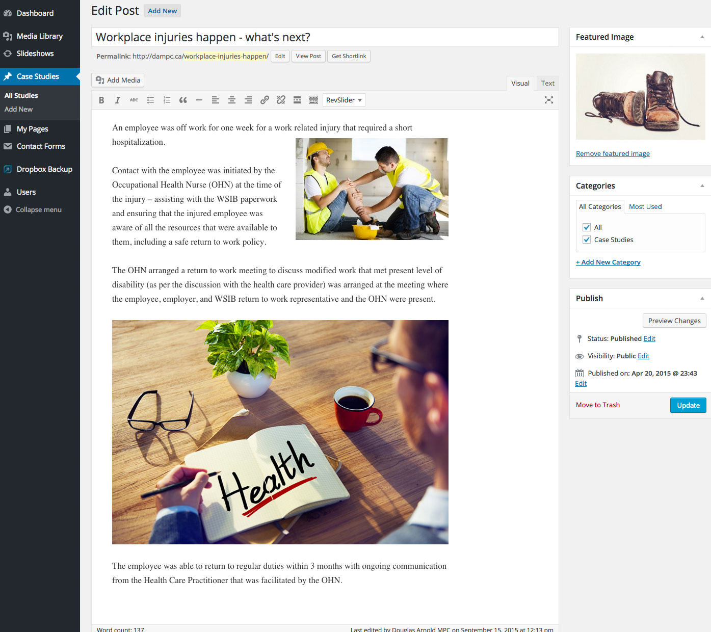 Case Study Post Backend Editor